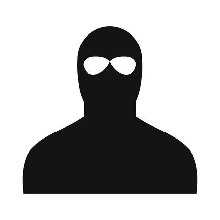 thievery: Man in a mask black simple icon on a white background Illustration