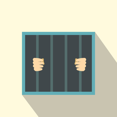 behind bars: Man behind jail bars flat icon on a grey background Illustration