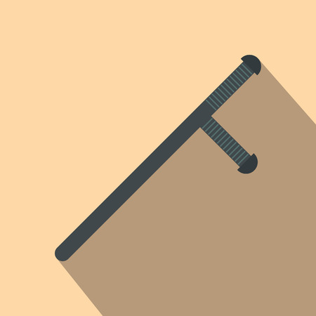 nightstick: Black rubber baton flat icon on a beige background. Police bat. Police stick. Security truncheons. Illustration