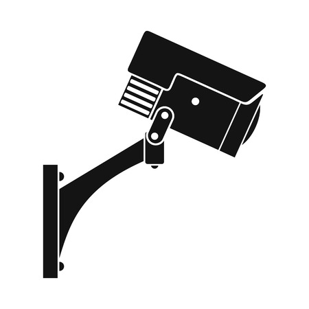 monitored area: Surveillance camera black icon. Simple black symbol on a white background Illustration