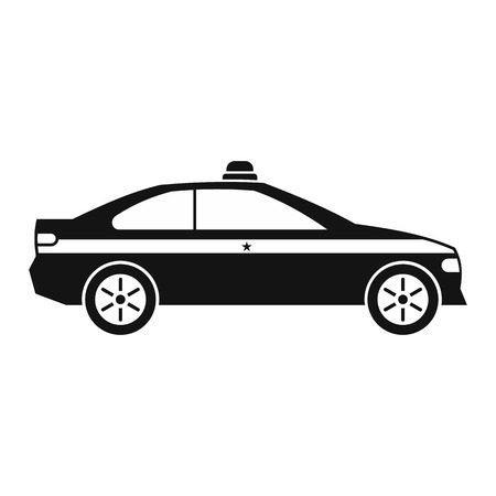 the traffic movement police: Police car black icon. Simple black symbol on a white background