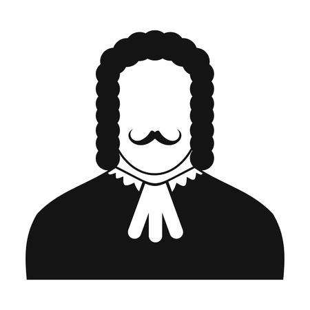 peruke: Judge black icon. Simple black symbol on a white background