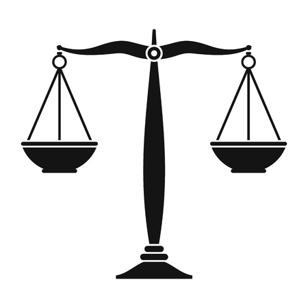 Justice scales black icon. Simple black symbol on a white background Vettoriali