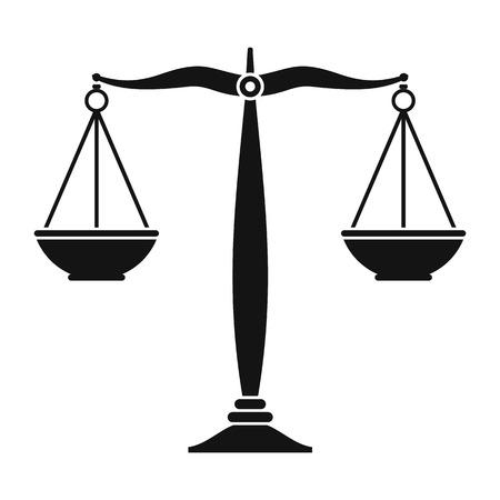 balanza de justicia: Justicia escalas icono negro. Simple símbolo negro sobre un fondo blanco