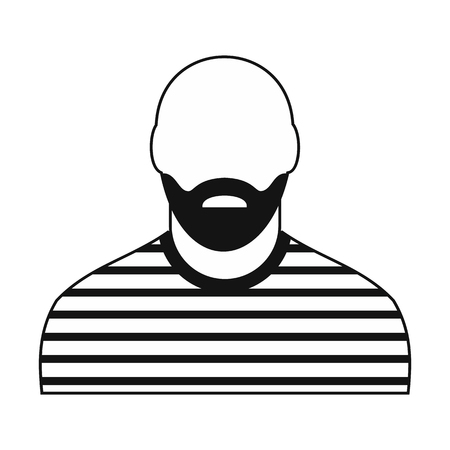 stealer: Prisoner black icon. Thief in striped clothes avatar isolated on white background
