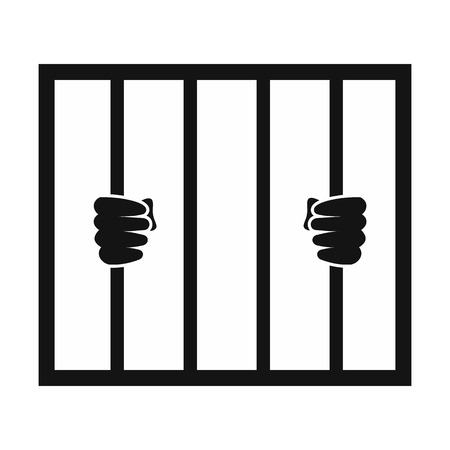 Human hands holding prison bars black icon. Simple black symbol on a white background Illusztráció