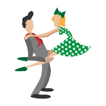 jive: Couple dancing rocknroll cartoon illustration. Single symbol on a white background Illustration