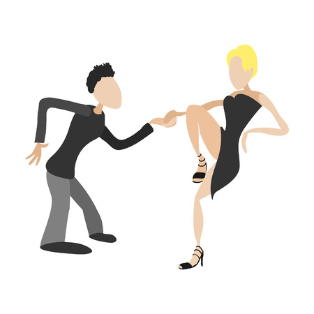 tango: Couple dancing tango cartoon illustration. Single symbol on a white background
