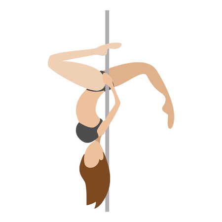 Pole dancer cartoon character. Single symbol on a white background  イラスト・ベクター素材