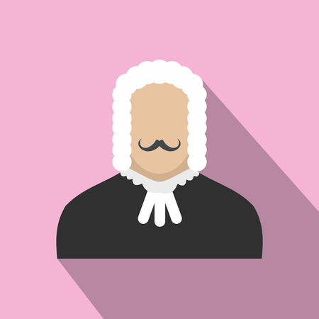 magistrate: Judge flat icon on a pink background