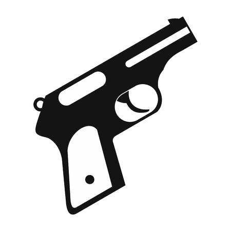 pistolas: Pistola sencilla icono negro sobre un fondo blanco