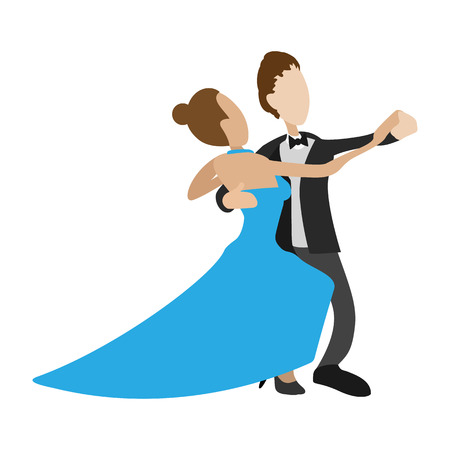 Paar tanzt Walzer Cartoon-Symbol auf einem weißen Hintergrund Vektorgrafik