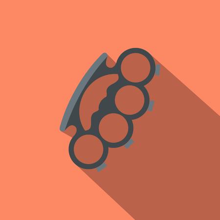 knuckles: Brass knuckles flat icon on a russet background