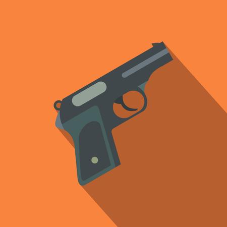 pistolas: Pistola icono de plano sobre un fondo naranja