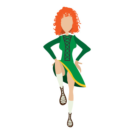 national women of color day: Illustration of irishstep dancer girl in traditional costume. Single cartoon symbol on a white Illustration