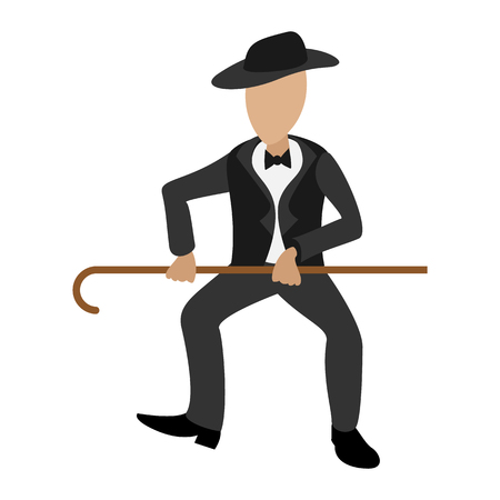 Tap dancer cartoon illustration. Male dancer with hat and stick on a white