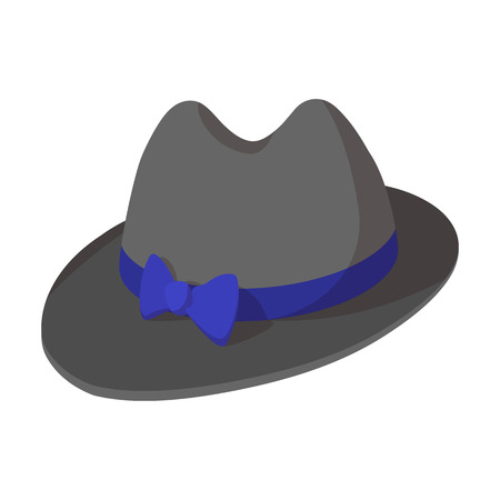 derby hats: Hipster hat cartoon icon. Grey male hat with bow on a white background