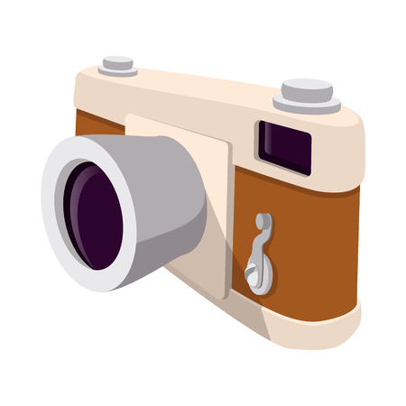 journalistic: Camera retro cartoon symbol. Brown hipster slyle symbol on a white background Illustration