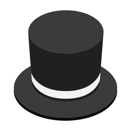 conjuring: Magic black hat isometric 3d icon on a white background