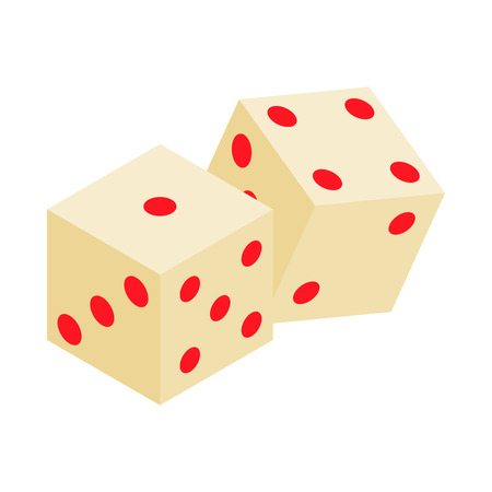 dice: White dice isometric 3d icon on a white background Illustration