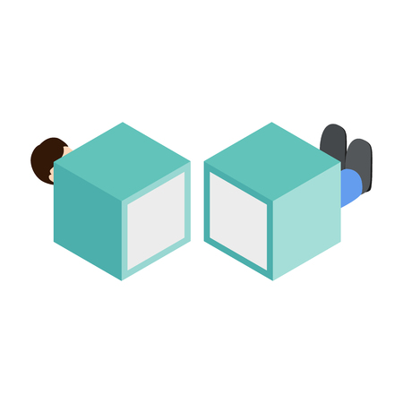 conjuror: Magician sawing box isometric 3d icon on a white background