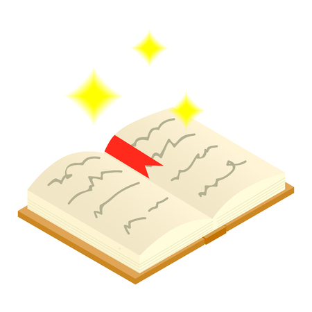 spells: Magic book of spells open isometric 3d icon on a white background