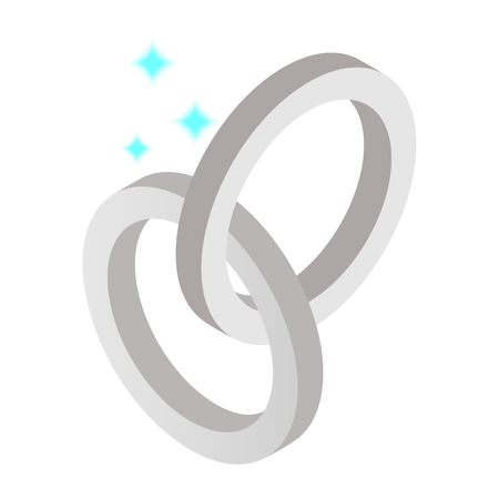 titanium: Silver metal rings isometric 3d icon on a white background