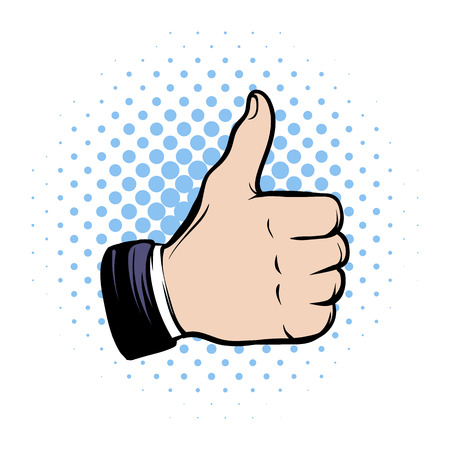 like: Hand doing a thumb up comics icon on a white background