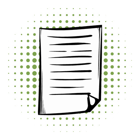 lined paper: Lined paper comics icon on a white background Illustration