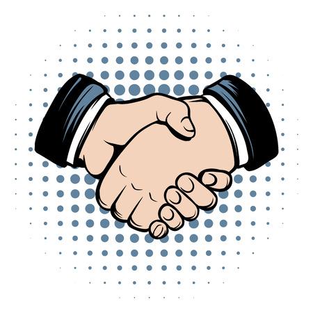saludo de manos: icono de los c�mics apret�n de manos en un fondo blanco