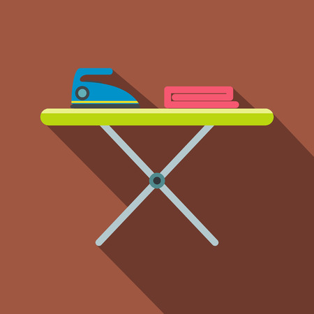 ironing: Ironing board with iron flat icon on a brown background