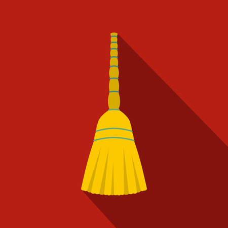 wicked set: Yellow broom flat icon on a red background