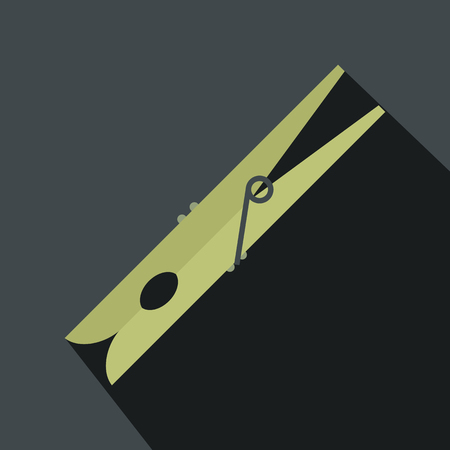clothes pin: Wooden clothes pin flat icon on grey background
