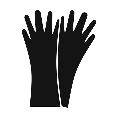 rubber gloves: Rubber gloves black simple icon isolated on white background