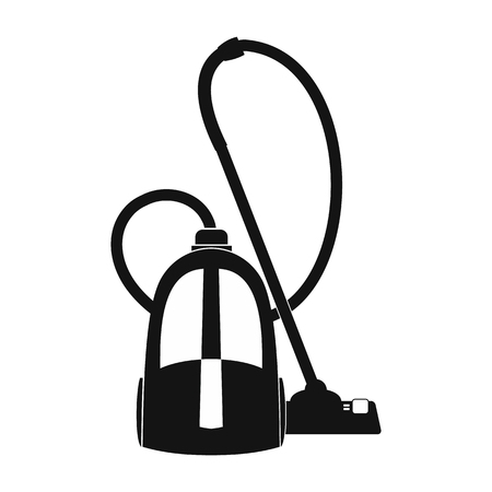 electric broom: Vacuum cleaner black simple icon for web and mobile devices