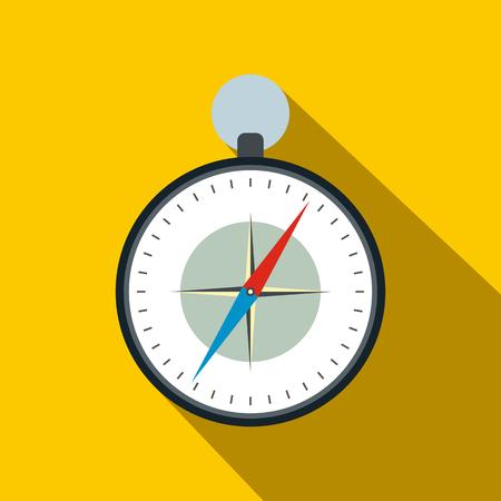 brujula: Brújula con rosa de los vientos icono de plano sobre un fondo amarillo