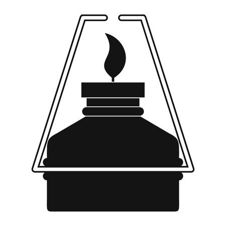 travel burner: Portable gas burner black simple icon isolated on white background Illustration