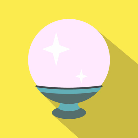 Magic ball flat icon on a yellow background