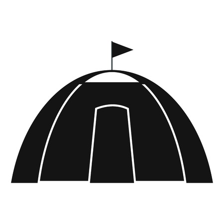 refuge: Dome tent black simple icon isolated on white background Illustration