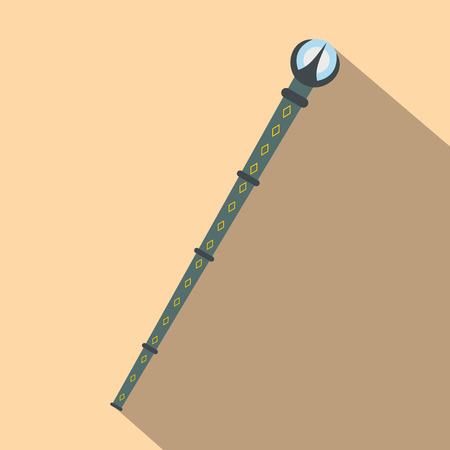 bewitchment: Magic wand with blue crystal flat icon on a beige background Illustration