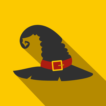 scary story: Witch black hat flat icon on a yellow background