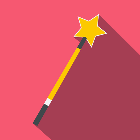bewitchment: Gold magic wand flat icon on a pink background