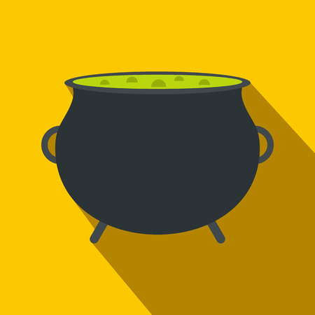 decoction: Witch cauldron with green potion flat icon on a yellow background