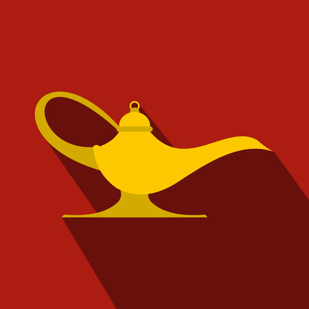 lamp of aladdin: Middle east oil lamp flat icon on a red background. Lamp Aladdin