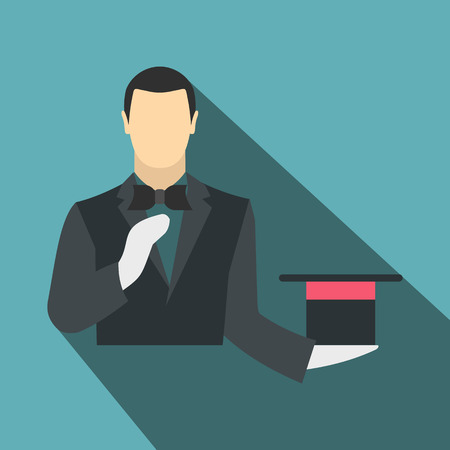 conjuror: Magician in a black suit holding an empty top hat flat on a blue background