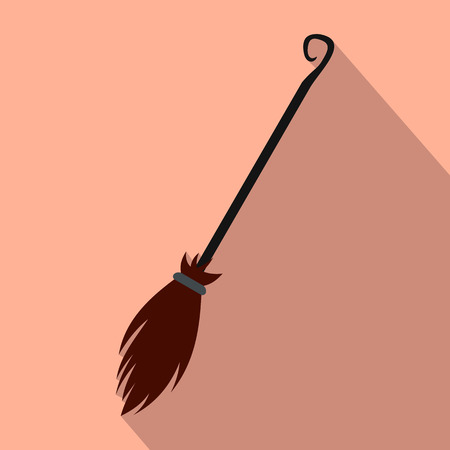 whisk broom: Witches broom flat icon on a pink background