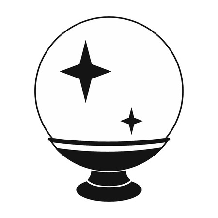 magic ball: Magic ball black simple icon isolated on white background