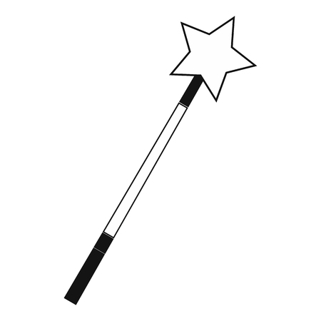 bewitchment: Magic wand black simple icon isolated on white background