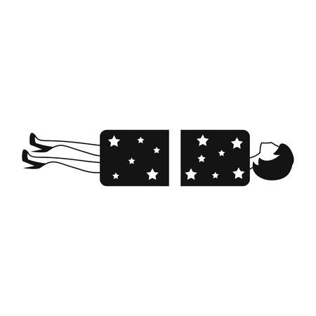 conjuror: Magician sawing box with a woman black simple icon isolated on white background