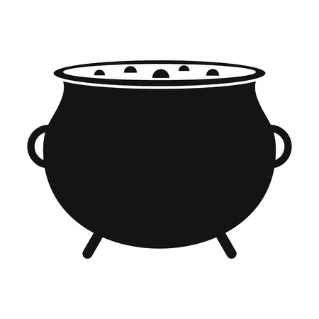 Witch cauldron with potion black simple icon isolated on white background